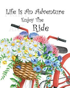 Life Is An Adventure Enjoy The Ride Red Bicycle by PrintArtMedia