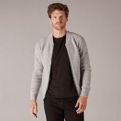 Naadam Helios Wool Cashmere Bomber Flint Gray - S Cashmere Yarn, Cashmere Sweaters, Casual Looks, Merino Wool, Knitwear, Men Sweater, Man Shop, Zipper, Fashion Outfits