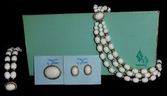 Vintage Elegance in Jewelry by Tiara Parure Necklace Bracelet Earrings Brooch #EleganceinJewelrybyTiarainOriginalBox