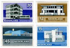 Dutch architecture stamps, 1969. One of our favourite sets.
