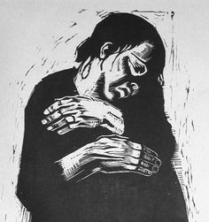 Die Witwe I, or The Widow I by Kathe Kollwitz, 1922-3, woodcut on paper, approximately 15 inches by 9 inches