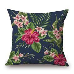 Frangipani Hibiscus Cushion Cover - Navy