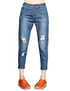 Girls Hollow Bleached Skinny Jeans Pants Denim Blue