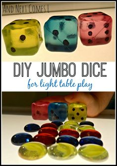 DIY jumbo dice for light table play from And Next Comes L