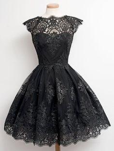 Black vintage lace dress #wedding