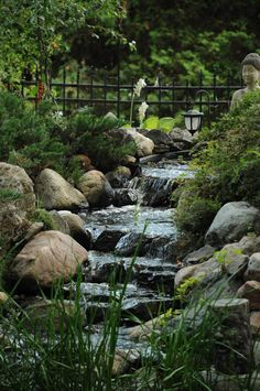 Waterfall created by The Pond Clinic in Ottawa, ON. Backyard Water Feature, Ponds Backyard, Backyard Waterfalls, Garden Ponds, Koi Ponds, Garden Stream, Water Garden, Pond Landscaping, Landscaping With Rocks