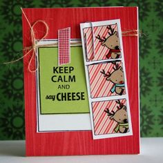 Say Cheese Photo Strip Card - love the repeated image in three colors as a photo strip balanced with the sentiment in a polaroid!  Fun.