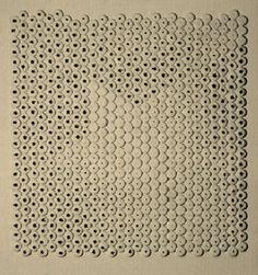 Superfície I 1967 | Aluísio Carvão chapinhas de metal e óleo sobre madeira 80.00 x 80.00 cm