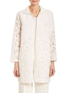 Lafayette 148 New York Floral Fil Coupe Mirella Jacket - White - Size