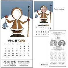 Customize this calendar with your logo and business information and pass it on to your favorite customers. Your customers can insert their favorite photo of themselves, kids or grandkids for a fun loving calendar that is sure to stay in their office all year long!