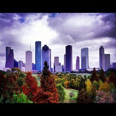 Downtown Houston skyline from the Buffalo Bayou .