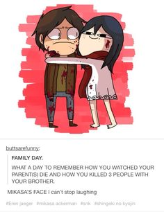 Mikasa and Eren on Family Day