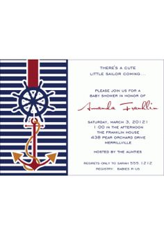 Nautical Sailing Boy Baby Shower Invitation l Baby Shower Invites | BSI194