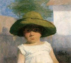 Hollosy, Simon (1857-1918) - 1900c. Girl with a Large Green Hat (Hungarian National Gallery, Budapest)