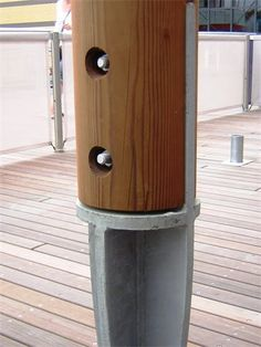Post base detail, Lakeside, Essex : Detail developed to prevent moisture entrapment Wood Columns, Steel Columns, Steel Detail, Wood Detail, Detail Architecture, Smart Home Design, Timber Structure, Wood Joinery, Steel Roofing