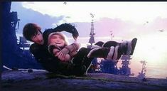 Hiccup and Astrid playing on the same ledge were stoick was talking to hiccup