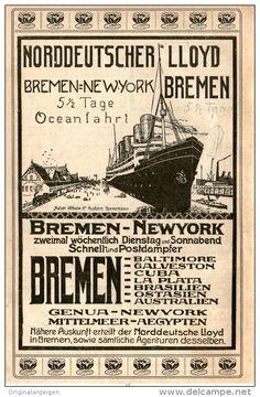 Original-Werbung/Inserat/ Anzeige 1906 : NORDDEUTSCHER LLOYD BREMEN / MOTIV DAMPFER ca. 180 x 100 mm