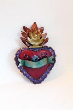 Vintage Tin sacred heart Mexican wall art by TheVirginRose on Etsy, $38.00