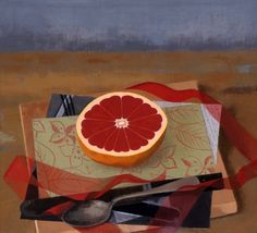 """Susan Jane Walp Grapefruit with Knife, Spoon and Red Ribbon  1998 oil on linen 9x10"""""""