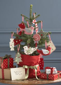 little tree with handmade ornaments