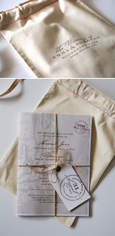 Glamourous Gunny Sack Style Invitation. Classy invitation gets an tactile touch with an oh-so-clever customized cloth container.