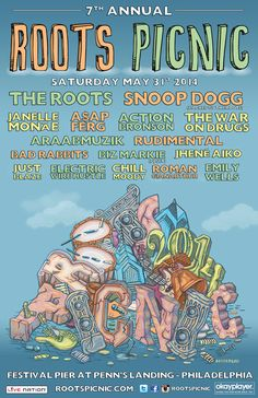 Roots Picnic 2014 poster art f. Snoop Dogg x The Roots & More