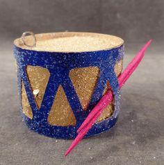 Vintage Toy Drum Christmas Ornament – N.O.S. - Colorful Cardboard Xmas Tree Ornament