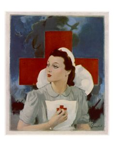 Glamorous Red Cross Nurse Posing in Front of a Cross and Spitfire Lámina giclée