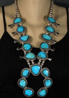 Large-Old-Pawn-Vintage-Navajo-Sterling-Gem-Turquoise-Squash-Blossom-Necklace