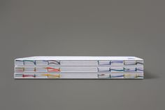 Beautiful book binding with coloured thread (by Hey studio, Barcelona)
