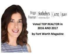 Voted Top Realtor by Fort Worth Magazine in 2016 and 2017.  Thank you to my clients for voting for me.  Contact Kate Asay with Briggs Freeman Sotheby's International Realty to discuss finding your dream home in DFW.  #kate #kateasay #briggsfreeman #sothebys #toprealtor #fort worth
