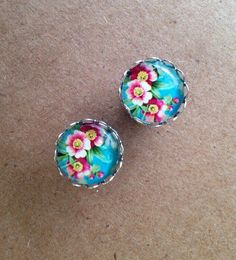 """Photo Glass Button Cabochon Cab plugs for gauged ears: 14g - 7/16"""" on Etsy, $16.50"""