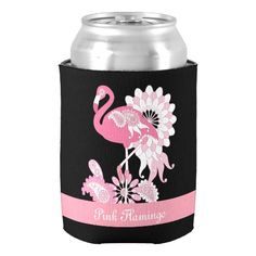 Whimsical Design Beautiful Pink Flamingo Cool Cute Can Cooler Elegant Neoprene Wedding Beer Can Holder Valentines Gift Holders