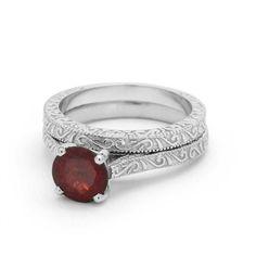 Garnet Engagement Ring Set in 14k White Gold