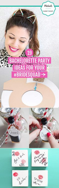 Hosting a bachelorette party for your BFF? Get your #BrideSquad swag with these trendy ideas. From DIY cat ears to mason jar cocktail kits, you're sure to make it a night to remember. Visit Michaels.com for more bachelorette party ideas.