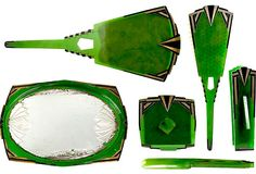 """La Futuriste Art Deco Vanity Set, Vintage six-piece Art Deco vanity set, """"La Futuriste,"""" made of hard celluloid under the English trademark Agalin. Embossed logo on each piece. The set includes a mirrored tray, storage box, nail buffer, shoe horn, hand mirror, and hair brush."""