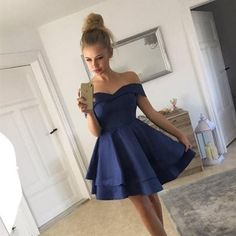 Short Satin V Neck Off-The-Shoulder Homecoming Dresses