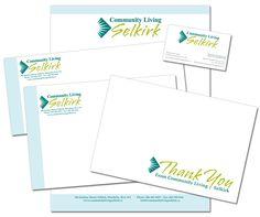 Community Living Selkirk Design Portfolio - Logo, Business Card, Letterhead, Envelopes & Thank you Card