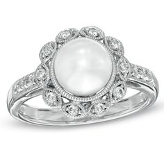 Absolutely love this one!    7.0 - 7.5mm Cultured Freshwater Pearl and Lab-Created White Sapphire Ring in 14K White Gold - Zales