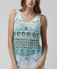 Look what I found on #zulily! Aqua Crochet Scoop Neck Tank #zulilyfinds
