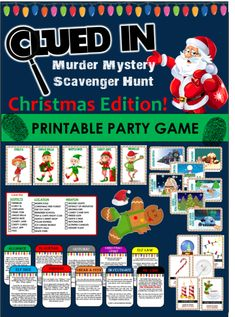 Clued-In Murder Mystery Christmas Scavenger Hunt -Printable Party Game! Clued-In Murder Mystery Christmas Scavenger Hunt -Printable Party Game! Christmas Party Games For Kids, Funny Christmas Games, Holiday Games, Christmas Humor, Christmas Fun, Xmas Games, Christmas Carol, White Christmas, Company Christmas Party Ideas
