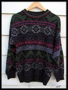 Mens vintage clothes 1980s black and neon pullover ski sweater size L. via Etsy.