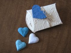 Pillow Box Wedding Favor With Plantable Gift Tag and Heart Seed Bombs