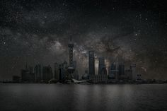 This is what the sky would look like in Shanghai, China if all the lights were turned off.    --- by photographer Thierry Cohen