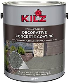 Painting concrete is easier said than done, you can't just pour a can of paint over your concrete floor and expect it to come out perfectly. Read our five-step guide from prepping to painting, to how to seal concrete so all your hard work lasts. Best Concrete Paint, Painted Concrete Porch, Stained Concrete, Decorative Concrete, How To Color Concrete, Concrete Driveway Paint, Concrete Paint Colors, Cement Steps, Concrete Lamp