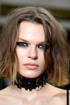 Hair, by Eugene Souleiman, varied from Bardot-esque blow-dries to kinky curls, depending upon each model's own natural texture.