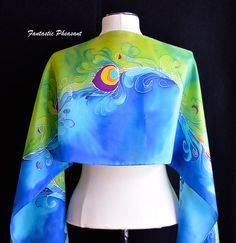 Silk scarf hand painted flowing peacock by FantasticPheasant