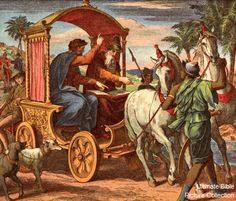 Acts 8 Bible Pictures: Philip teaches Eunuch in the chariot