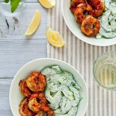 A cucumber salad with creamy yogurt dressing cools these spicy curried.  Slideshow: Fast and Healthy Shrimp Recipes ...