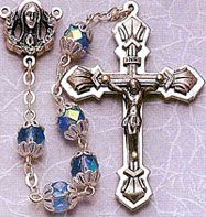 Double+Capped+Blue+Glass+Bead+rosary